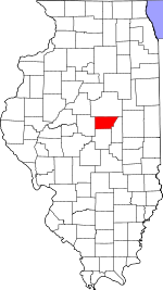 Map of Illinois showing De Witt County