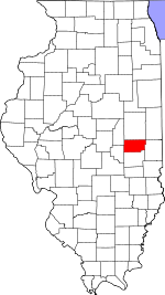 Map of Illinois showing Douglas County