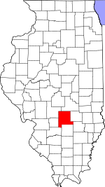 Map of Illinois showing Fayette County