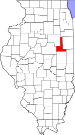 Map of Illinois showing Ford County