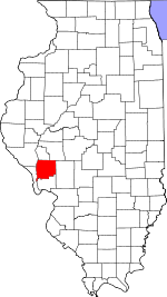 Map of Illinois showing Greene County
