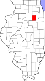 Map of Illinois showing Grundy County
