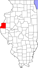 Map of Illinois showing Hancock County