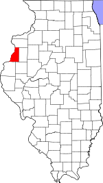Map of Illinois showing Henderson County