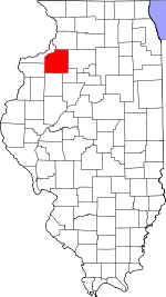 Map of Illinois showing Henry County