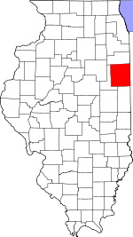 Map of Illinois showing Iroquois County