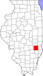 Map of Illinois showing Jasper County