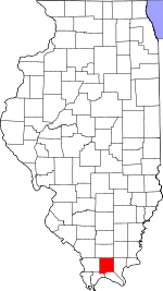 Map of Illinois showing Johnson County