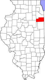 Map of Illinois showing Kankakee County