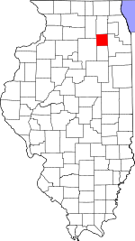 Map of Illinois showing Kendall County