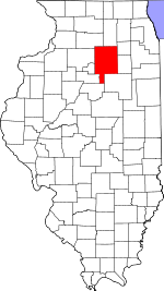 Map of Illinois showing La Salle County