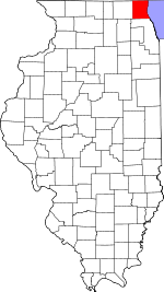 Map of Illinois showing Lake County