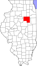 Map of Illinois showing Livingston County
