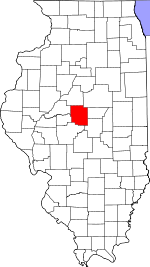 Map of Illinois showing Logan County