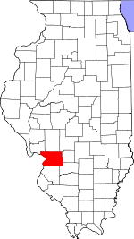 Map of Illinois showing Madison County