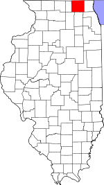 Map of Illinois showing McHenry County