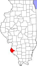 Map of Illinois showing Monroe County