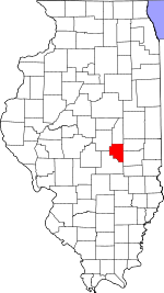 Map of Illinois showing Moultrie County