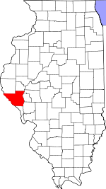 Map of Illinois showing Pike County