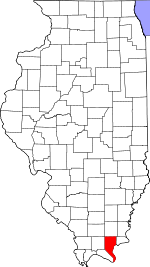 Map of Illinois showing Pope County