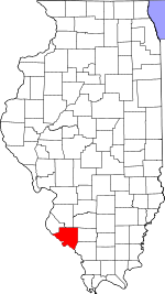 Map of Illinois showing Randolph County