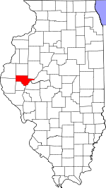 Map of Illinois showing Schuyler County