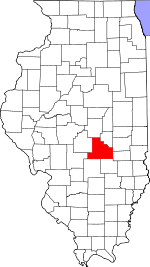 Map of Illinois showing Shelby County