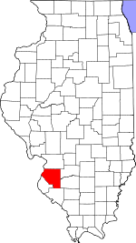 Map of Illinois showing St. Clair County
