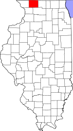 Map of Illinois showing Stephenson County
