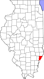 Map of Illinois showing Wabash County