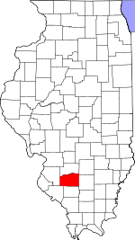 Map of Illinois showing Washington County