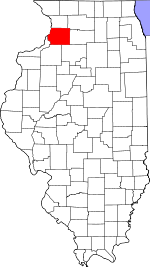 Map of Illinois showing Whiteside County