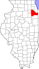 Map of Illinois showing Will County