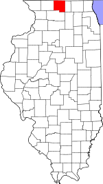 Map of Illinois showing Winnebago County
