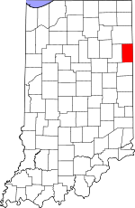 Map of Indiana showing Adams County