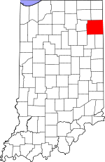 Map of Indiana showing Allen County