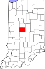 Map of Indiana showing Boone County