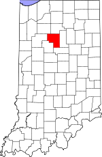 Map of Indiana showing Cass County