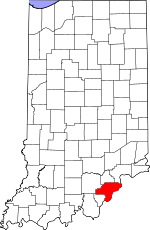 Map of Indiana showing Clark County