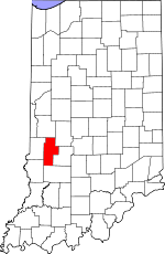 Map of Indiana showing Clay County