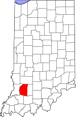 Map of Indiana showing Daviess County