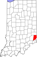 Map of Indiana showing Dearborn County