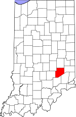 Map of Indiana showing Decatur County