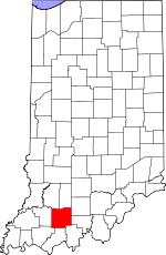 Map of Indiana showing Dubois County