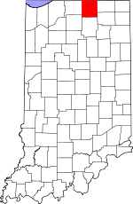 Map of Indiana showing Elkhart County