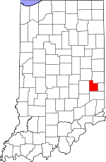 Map of Indiana showing Fayette County