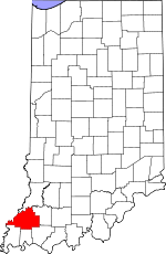 Map of Indiana showing Gibson County