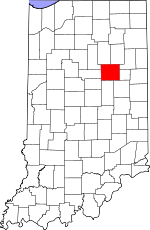 Map of Indiana showing Grant County