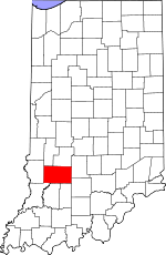 Map of Indiana showing Greene County