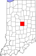 Map of Indiana showing Hamilton County